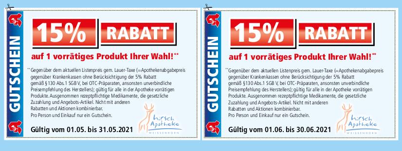 Hirsch-Apotheke-Weissenhorn-Gutscheine Mai/Juni